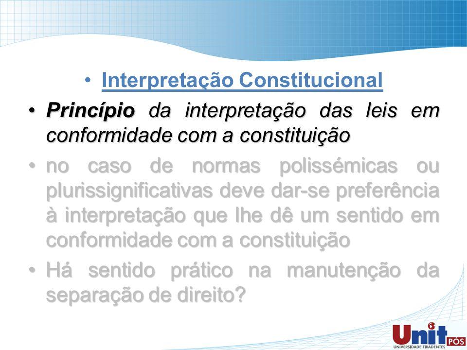 Interpretação Constitucional Princípio da interpretação das leis em conformidade com a constituiçãoPrincípio da interpretação das leis em conformidade