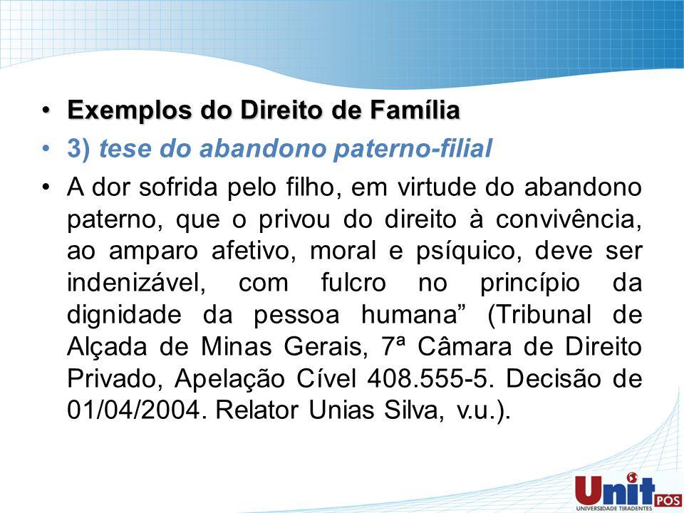 Exemplos do Direito de FamíliaExemplos do Direito de Família 3) tese do abandono paterno-filial A dor sofrida pelo filho, em virtude do abandono pater