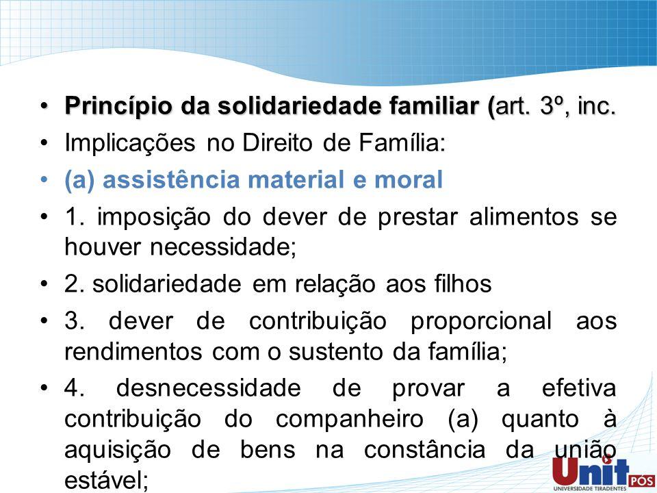 Princípio da solidariedade familiar (art. 3º, inc.Princípio da solidariedade familiar (art. 3º, inc. Implicações no Direito de Família: (a) assistênci