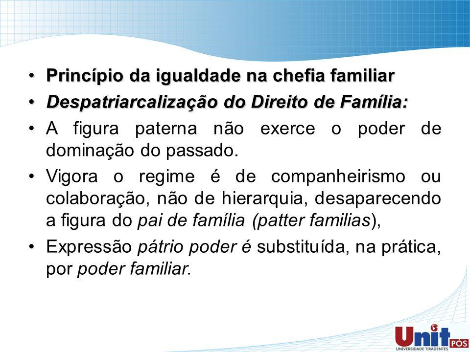 Princípio da igualdade na chefia familiarPrincípio da igualdade na chefia familiar Despatriarcalização do Direito de Família:Despatriarcalização do Di