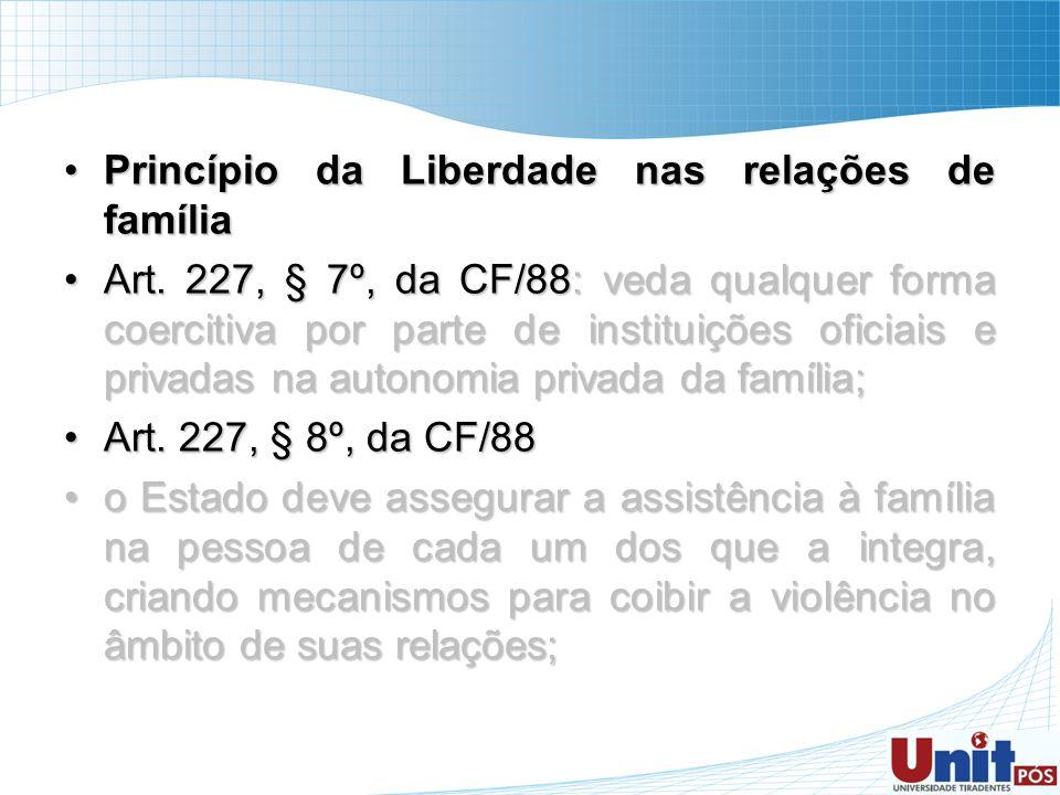Princípio da Liberdade nas relações de famíliaPrincípio da Liberdade nas relações de família Art. 227, § 7º, da CF/88: veda qualquer forma coercitiva