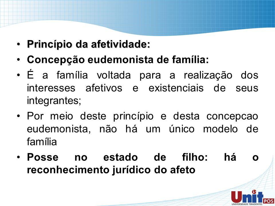 Princípio da afetividade:Princípio da afetividade: Concepção eudemonista de família: É a família voltada para a realização dos interesses afetivos e e