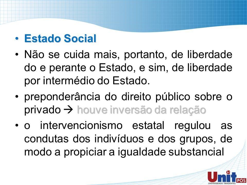 Estado SocialEstado Social Não se cuida mais, portanto, de liberdade do e perante o Estado, e sim, de liberdade por intermédio do Estado. houve invers