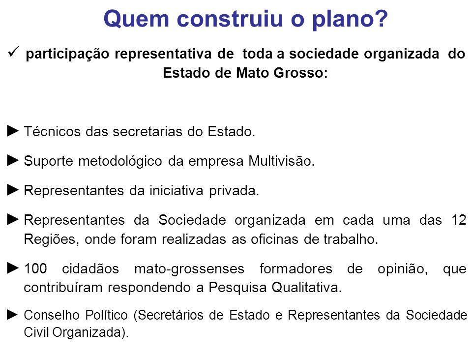 participação representativa de toda a sociedade organizada do Estado de Mato Grosso: Técnicos das secretarias do Estado.