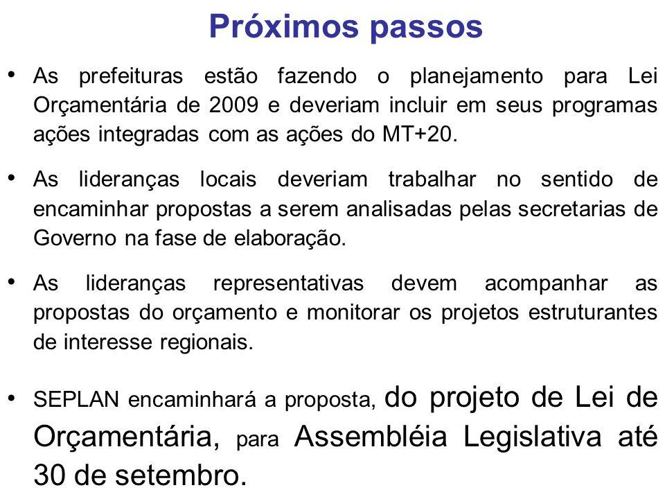 As prefeituras estão fazendo o planejamento para Lei Orçamentária de 2009 e deveriam incluir em seus programas ações integradas com as ações do MT+20.