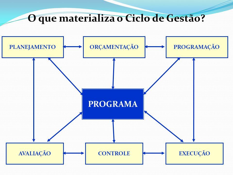 ESTRUTURA DO PROGRAMA (atributos) Denominação (clara – comunicação); Unidade responsável; Objetivo (solução de problema/demanda); Indicador (forma de medir o problema); Meta de resultado (quanto do problema pretendo resolver); Justificativa ( o que acontece se não resolver); Público-alvo (beneficiários diretos das ações); Valor global; Forma de financiamento (orçamentos, parcerias); Prazo de execução; Ações; Forma de Implementação;