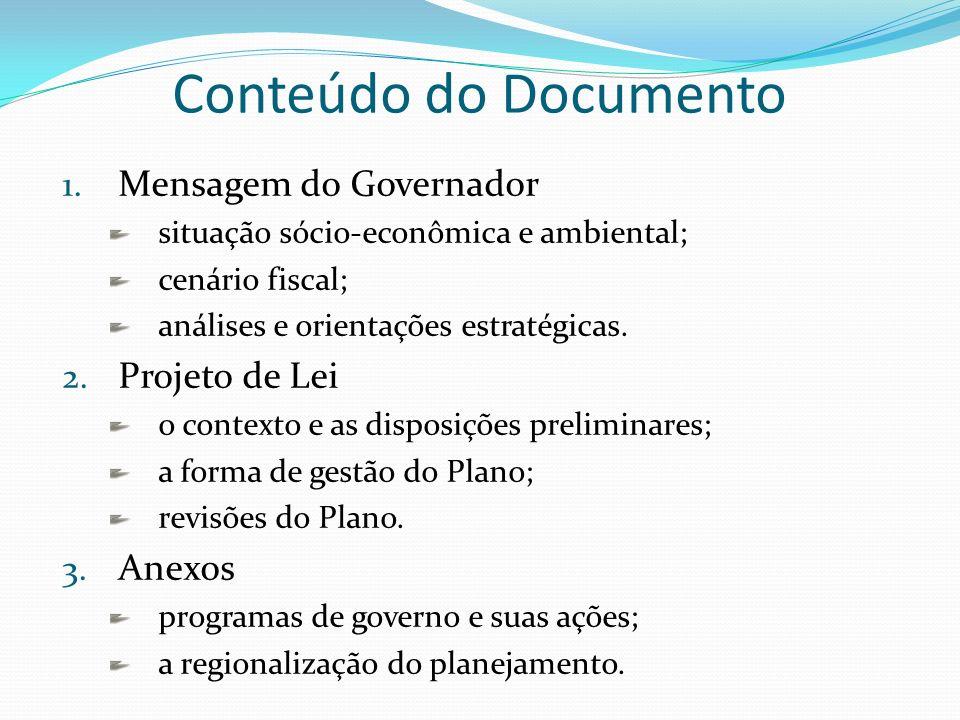 Conteúdo do Documento 1. Mensagem do Governador situação sócio-econômica e ambiental; cenário fiscal; análises e orientações estratégicas. 2. Projeto