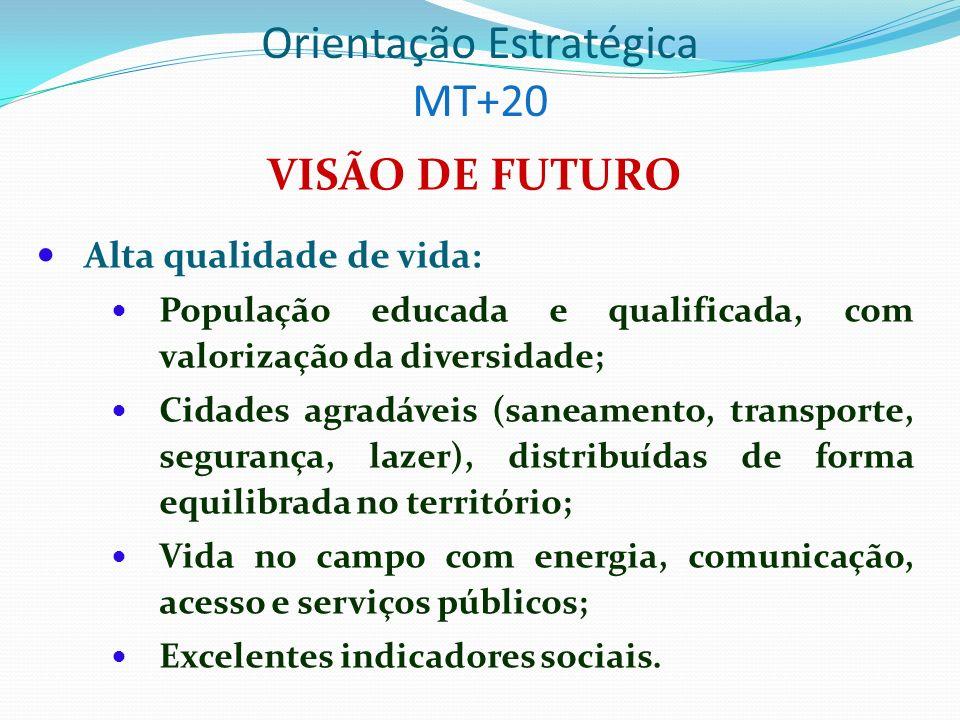 Orientação Estratégica MT+20 VISÃO DE FUTURO (cont.) Economia dinâmica, com elevada renda e relação harmoniosa com o meio ambiente: Estrutura produtiva diversificada; Turismo florescente; Tecnologia avançada; Cadeias produtivas adensadas; Infra-estrutura e logística integradas; Competitividade e integração com baixa vulnerabilidade externa; Potenciais regionais consolidados.
