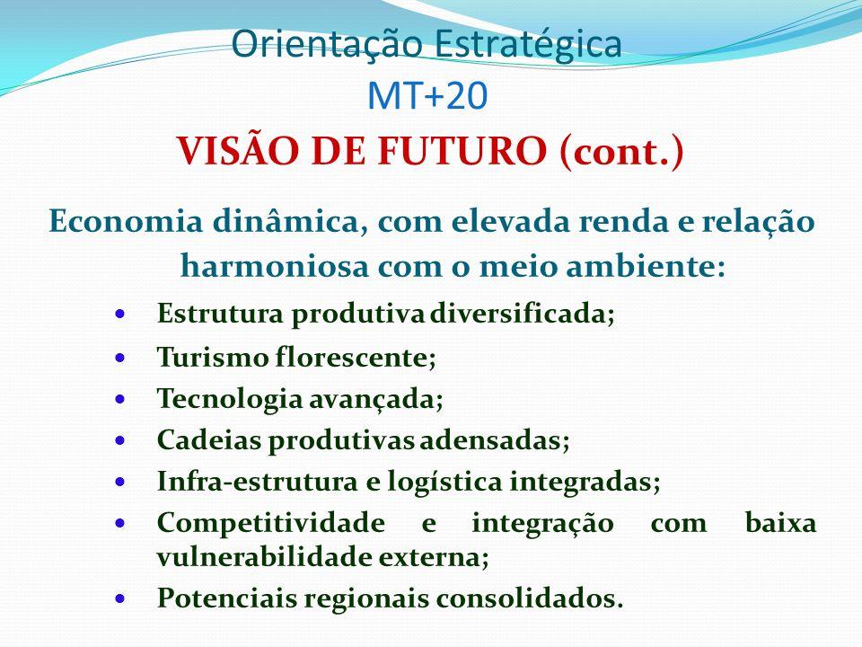 Orientação Estratégica MISSÃO DO GOVERNO Implementar um novo modelo de gestão do Estado de Mato Grosso, promover a inclusão social, o desenvolvimento econômico sustentável e a superação das desigualdades sociais e regionais