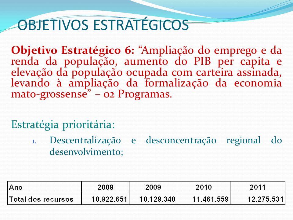 OBJETIVOS ESTRATÉGICOS Objetivo Estratégico 7: Preservação do patrimônio histórico e cultural de Mato Grosso, com valorização da diversidade cultural com respeito aos povos indígenas e sua contribuição para a formação da cultura mato- grossense.