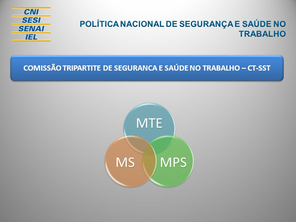 COMISSÃO TRIPARTITE DE SEGURANCA E SAÚDE NO TRABALHO – CT-SST MTE MPSMS