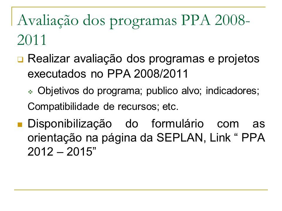 Avaliação dos programas PPA 2008- 2011 Realizar avaliação dos programas e projetos executados no PPA 2008/2011 Objetivos do programa; publico alvo; in