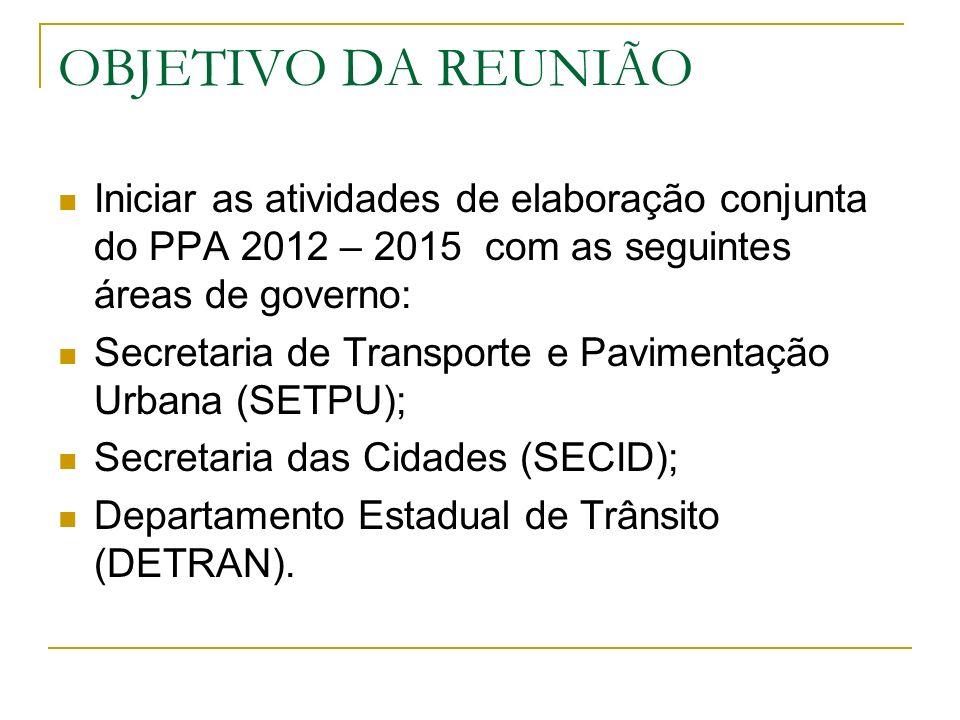 OBJETIVO DA REUNIÃO Iniciar as atividades de elaboração conjunta do PPA 2012 – 2015 com as seguintes áreas de governo: Secretaria de Transporte e Pavi