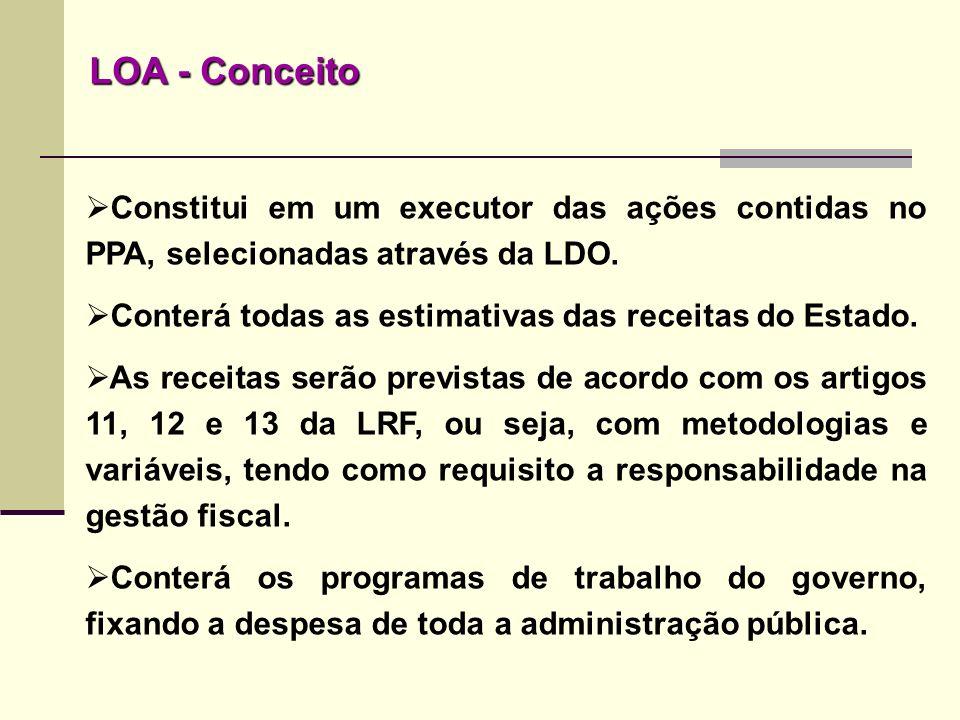 Constitui em um executor das ações contidas no PPA, selecionadas através da LDO. Conterá todas as estimativas das receitas do Estado. As receitas serã
