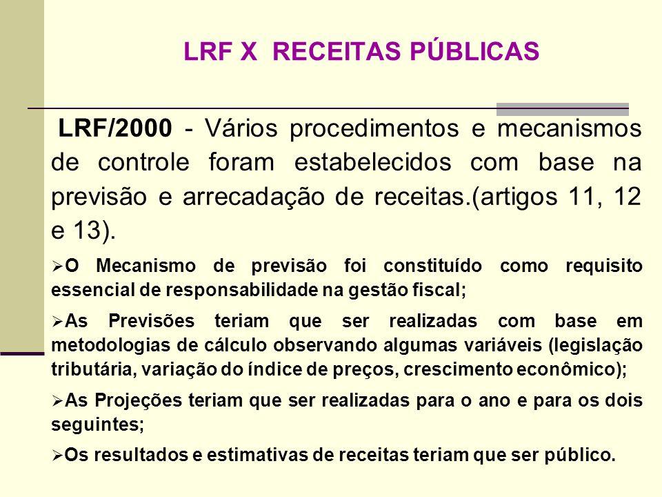 LRF X RECEITAS PÚBLICAS LRF/2000 - Vários procedimentos e mecanismos de controle foram estabelecidos com base na previsão e arrecadação de receitas.(a