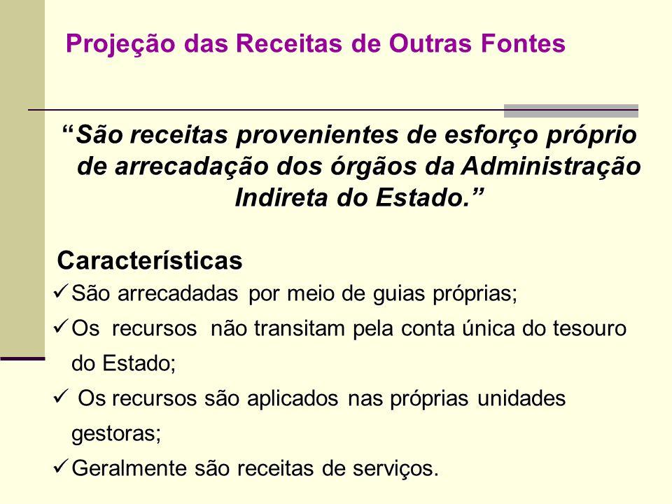 Projeção das Receitas de Outras Fontes São receitas provenientes de esforço próprio de arrecadação dos órgãos da Administração Indireta do Estado.São