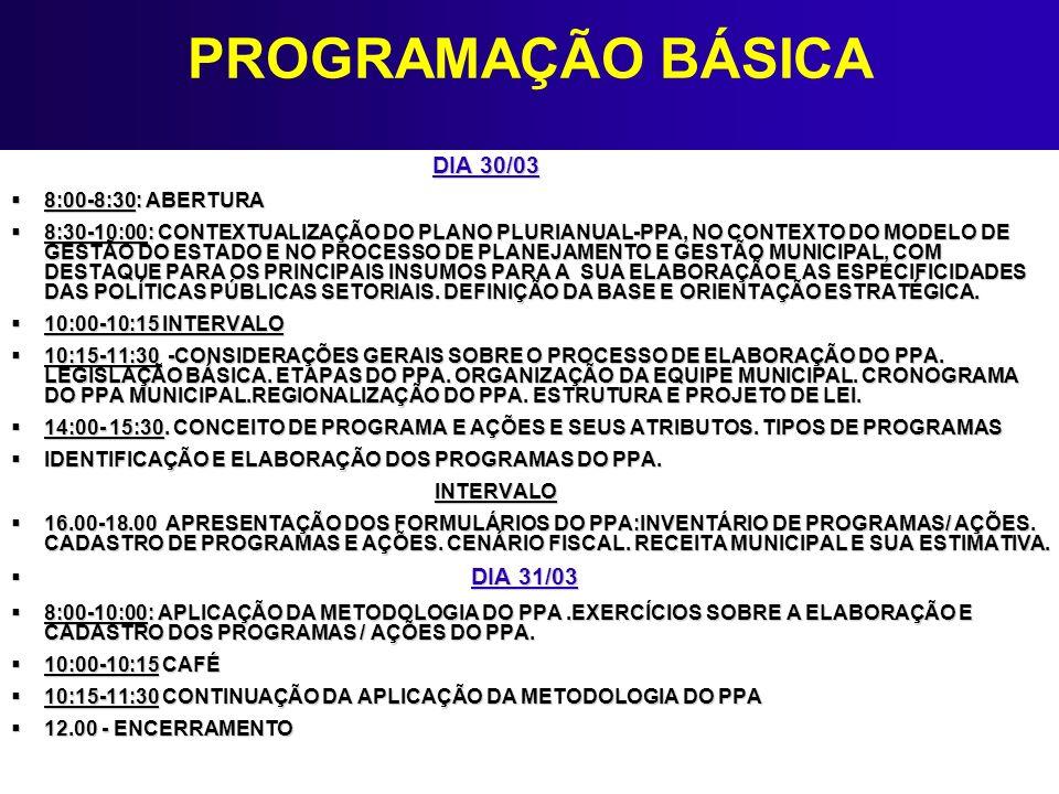 PROGRAMAÇÃO BÁSICA DIA 30/03 8:00-8:30: ABERTURA 8:00-8:30: ABERTURA 8:30-10:00: CONTEXTUALIZAÇÃO DO PLANO PLURIANUAL-PPA, NO CONTEXTO DO MODELO DE GE