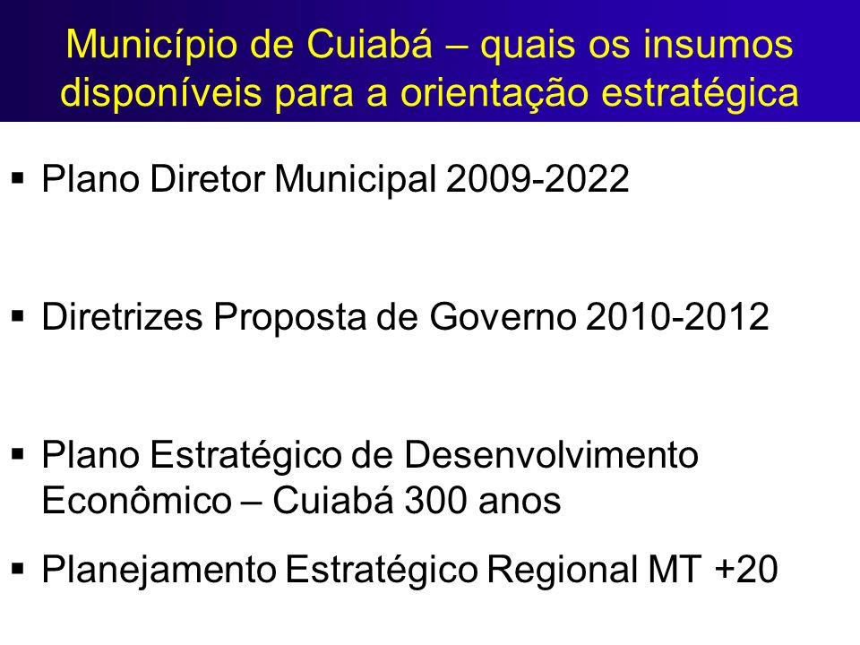 Município de Cuiabá – quais os insumos disponíveis para a orientação estratégica Plano Diretor Municipal 2009-2022 Diretrizes Proposta de Governo 2010
