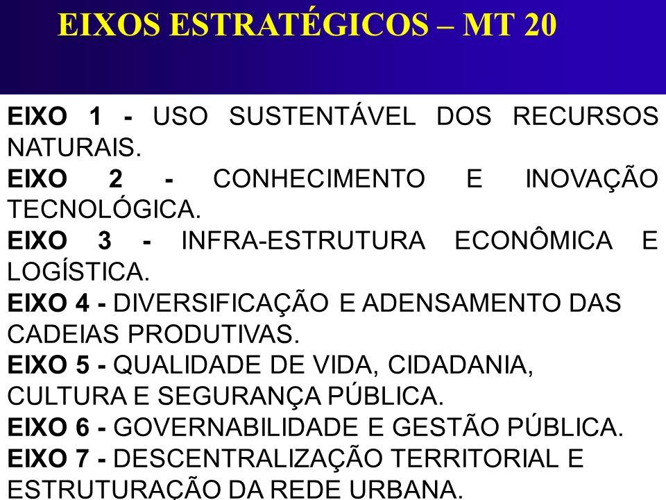 EIXO 1 - USO SUSTENTÁVEL DOS RECURSOS NATURAIS. EIXO 2 - CONHECIMENTO E INOVAÇÃO TECNOLÓGICA. EIXO 3 - INFRA-ESTRUTURA ECONÔMICA E LOGÍSTICA. EIXO 4 -