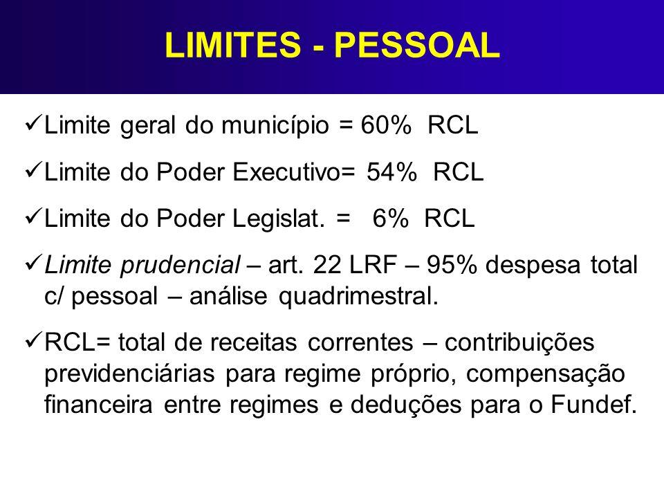 LIMITES - PESSOAL Limite geral do município = 60% RCL Limite do Poder Executivo= 54% RCL Limite do Poder Legislat. = 6% RCL Limite prudencial – art. 2