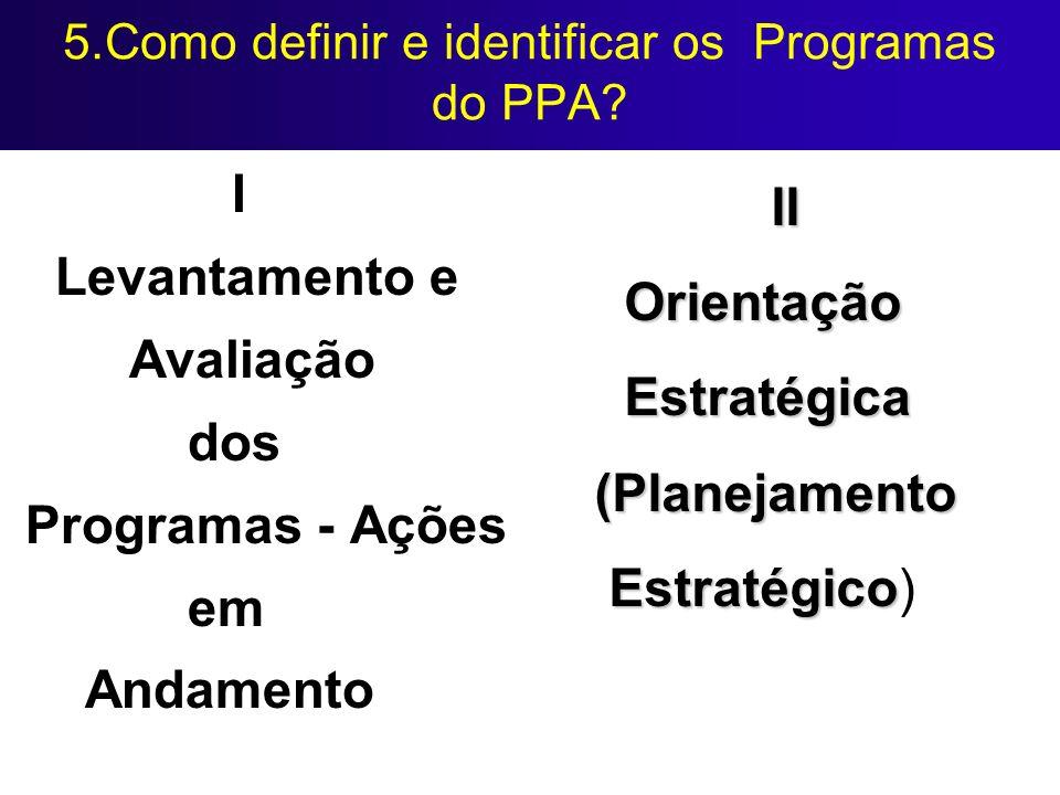 5.Como definir e identificar os Programas do PPA? I Levantamento e Avaliação dos Programas - Ações em Andamento II Orientação Estratégica Estratégica