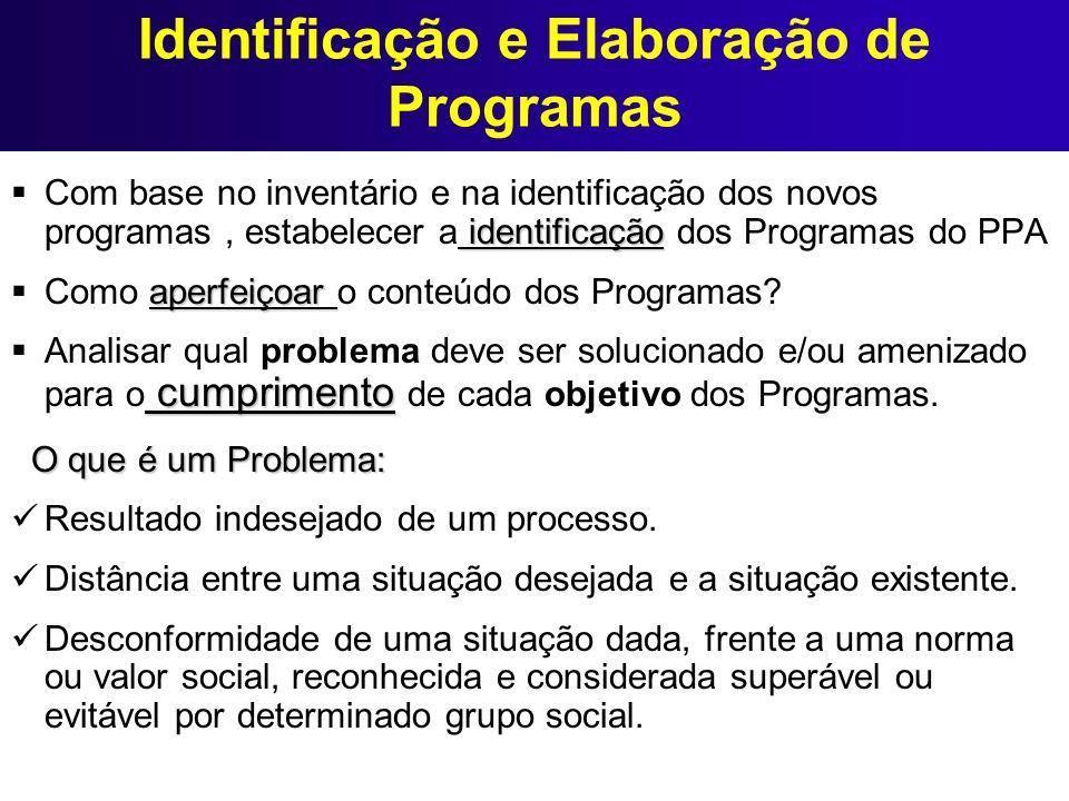 Identificação e Elaboração de Programas identificação Com base no inventário e na identificação dos novos programas, estabelecer a identificação dos P