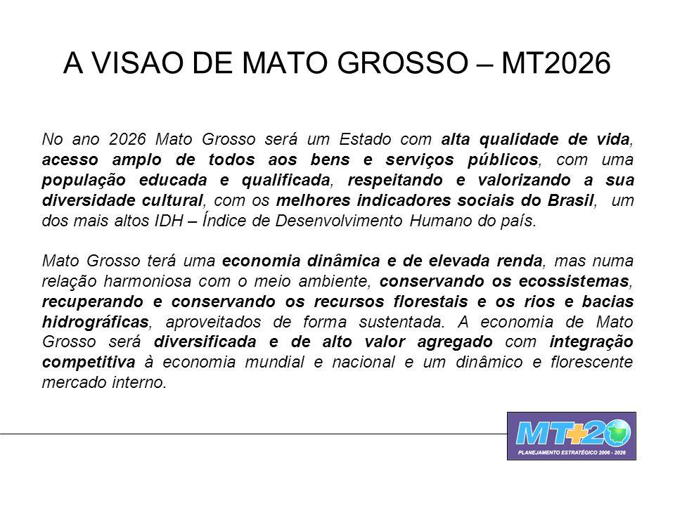 A VISAO DE MATO GROSSO – MT2026 No ano 2026 Mato Grosso será um Estado com alta qualidade de vida, acesso amplo de todos aos bens e serviços públicos,