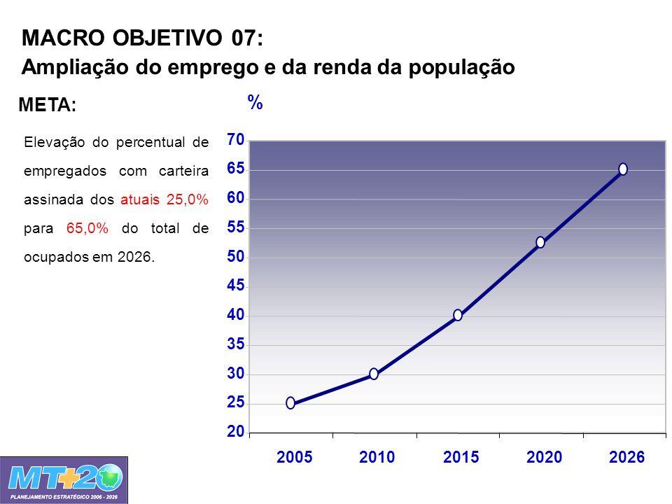 MACRO OBJETIVO 07: Ampliação do emprego e da renda da população Elevação do percentual de empregados com carteira assinada dos atuais 25,0% para 65,0%