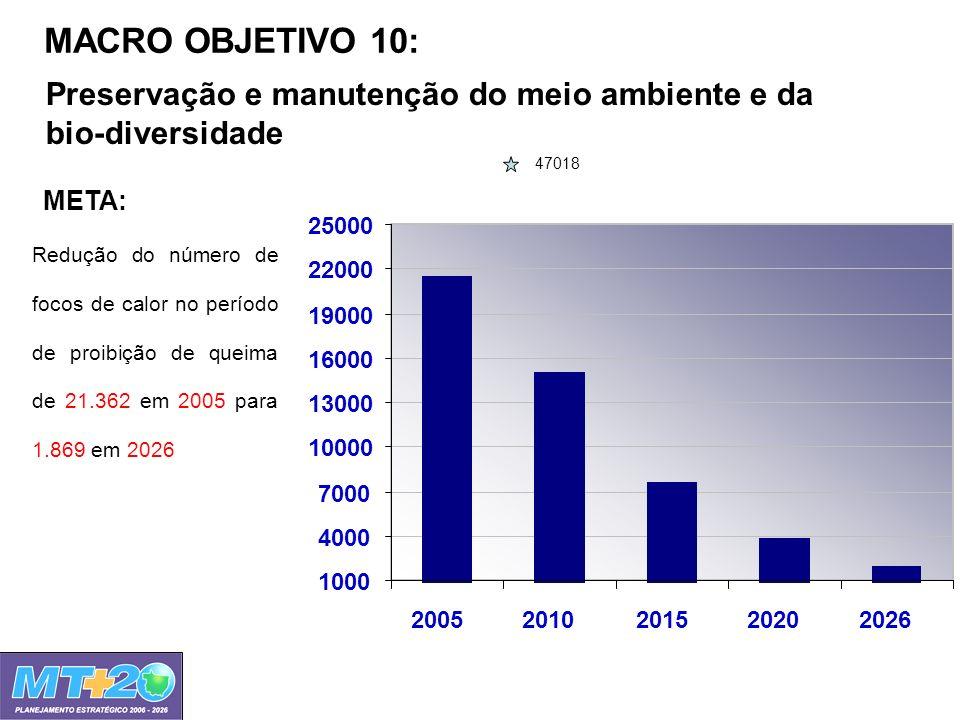 MACRO OBJETIVO 10: Preservação e manutenção do meio ambiente e da bio-diversidade 1000 4000 7000 10000 13000 16000 19000 22000 25000 20052010201520202