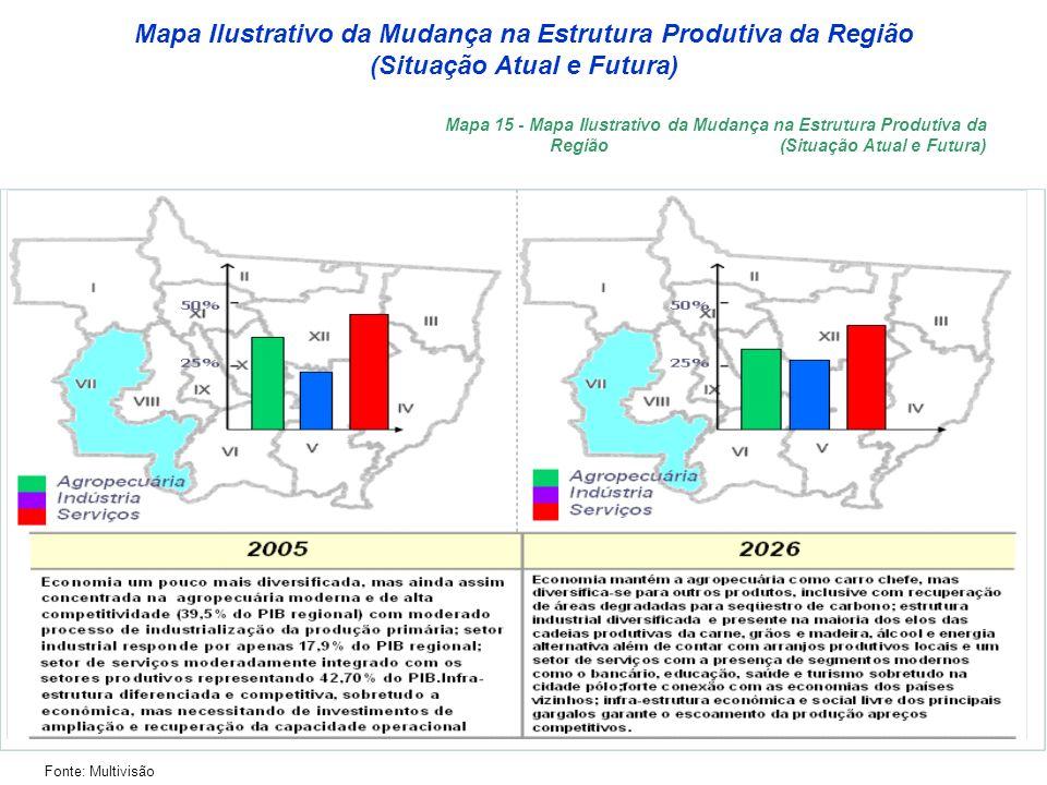 Mapa Ilustrativo da Mudança na Estrutura Produtiva da Região (Situação Atual e Futura) Fonte: Multivisão Mapa 15 - Mapa Ilustrativo da Mudança na Estrutura Produtiva da Região (Situação Atual e Futura)