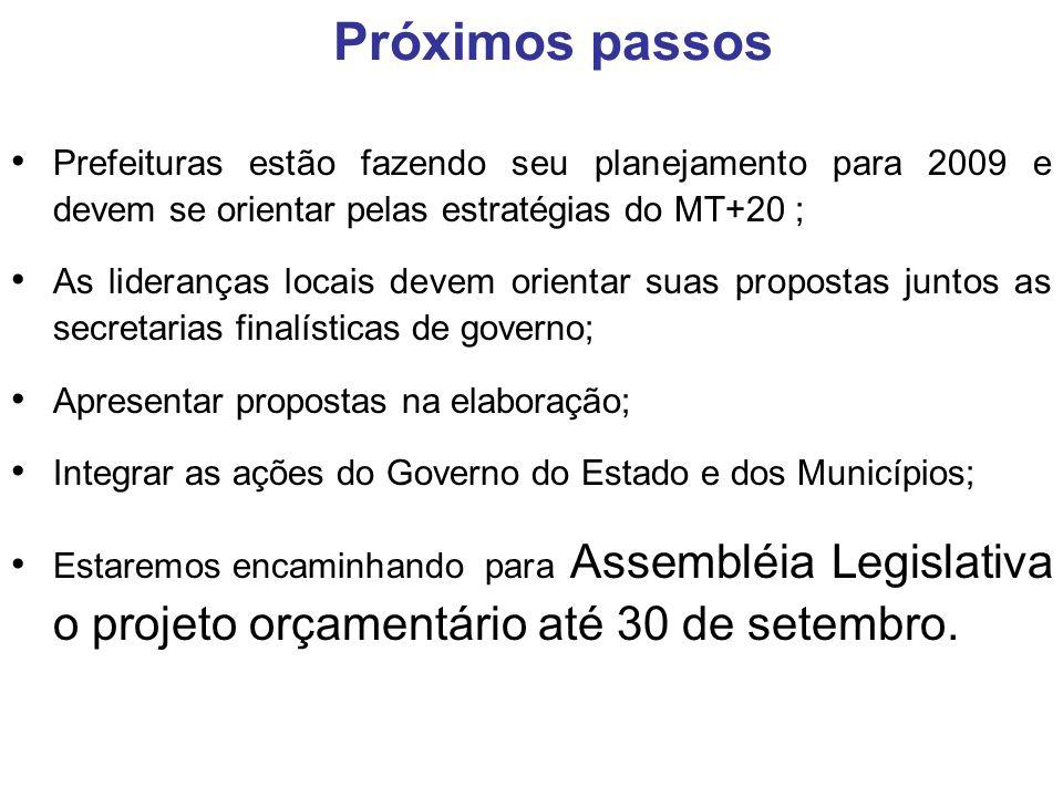 Prefeituras estão fazendo seu planejamento para 2009 e devem se orientar pelas estratégias do MT+20 ; As lideranças locais devem orientar suas propost
