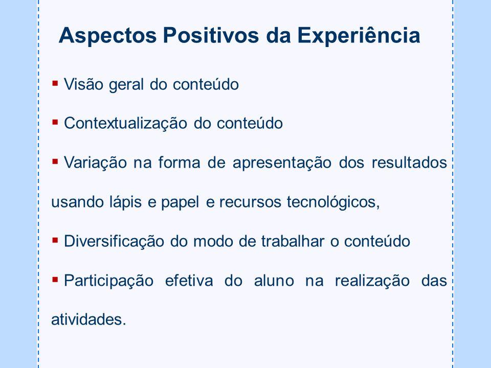 Aspectos Positivos da Experiência Visão geral do conteúdo Contextualização do conteúdo Variação na forma de apresentação dos resultados usando lápis e