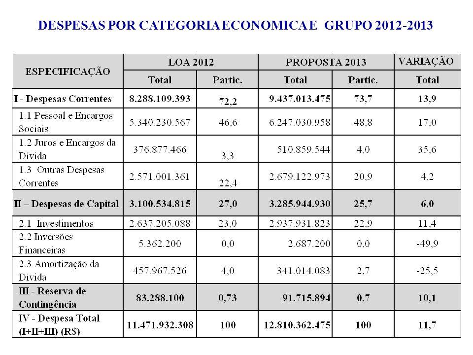 DESPESAS POR CATEGORIA ECONOMICA E GRUPO 2012-2013