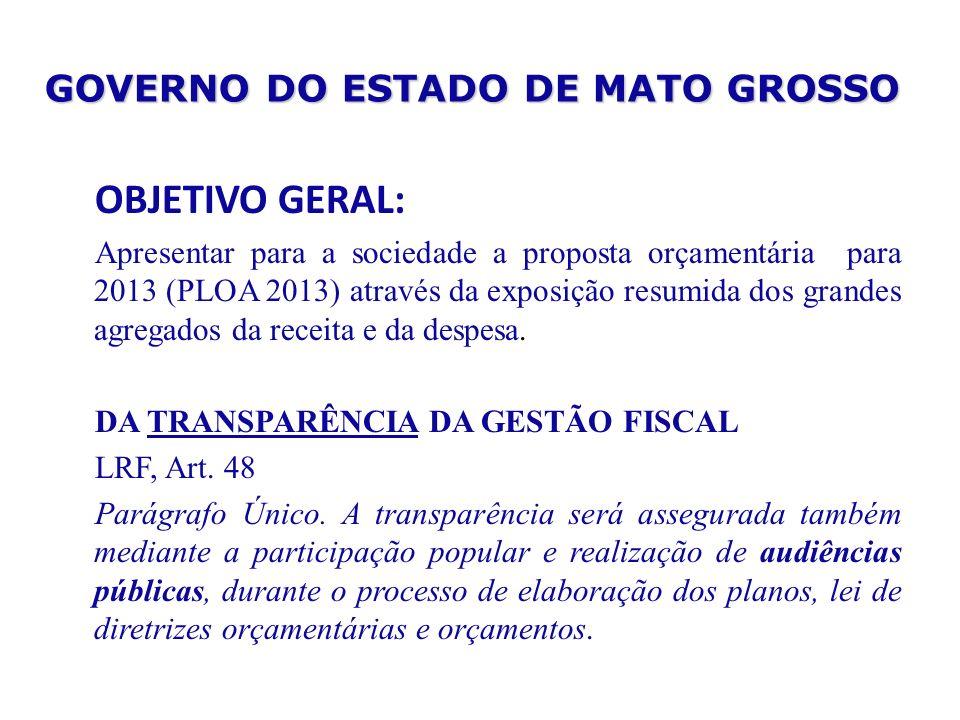 GOVERNO DO ESTADO DE MATO GROSSO OBJETIVO GERAL: Apresentar para a sociedade a proposta orçamentária para 2013 (PLOA 2013) através da exposição resumi