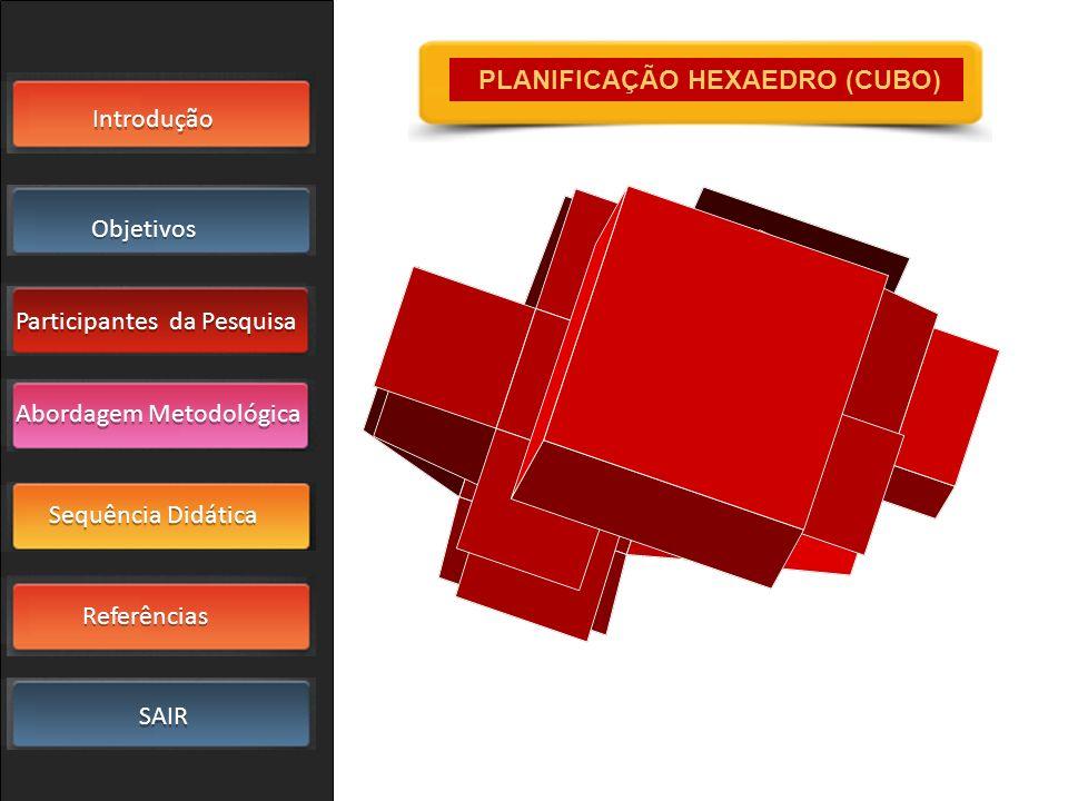 Introdução Objetivos Participantes da Pesquisa SAIR Sequência Didática Referências Abordagem Metodológica PLANIFICAÇÃO HEXAEDRO (CUBO)