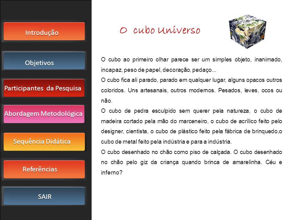 Introdução Objetivos Participantes da Pesquisa SAIR Sequência Didática Referências Abordagem Metodológica O cubo Universo O cubo ao primeiro olhar par