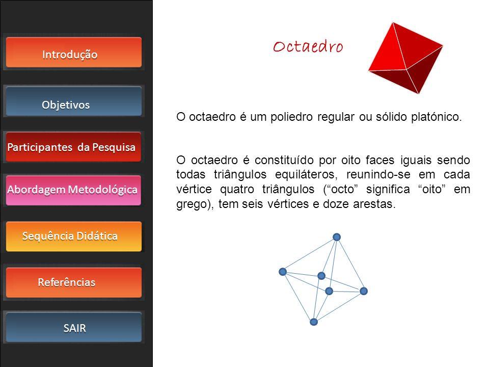 Introdução Objetivos Participantes da Pesquisa SAIR Sequência Didática Referências Abordagem Metodológica O octaedro é um poliedro regular ou sólido p
