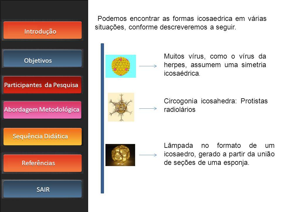 Introdução Objetivos Participantes da Pesquisa SAIR Sequência Didática Referências Abordagem Metodológica Podemos encontrar as formas icosaedrica em v