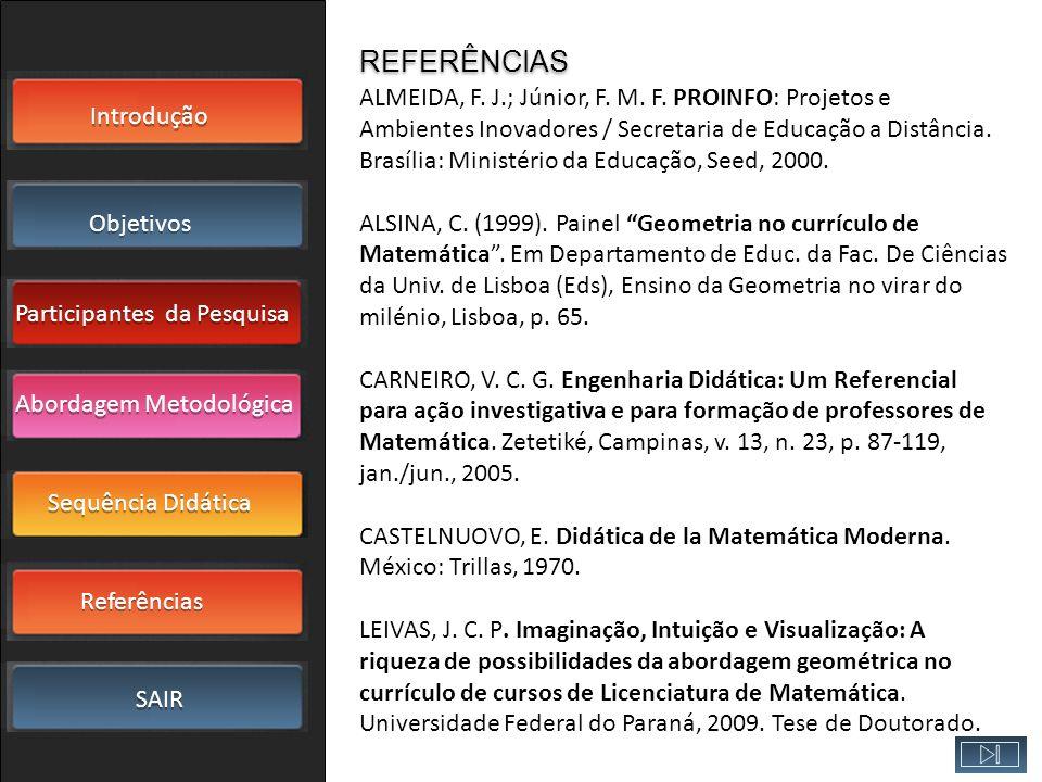 Introdução Objetivos Participantes da Pesquisa SAIR Sequência Didática Referências Abordagem Metodológica ALMEIDA, F. J.; Júnior, F. M. F. PROINFO: Pr