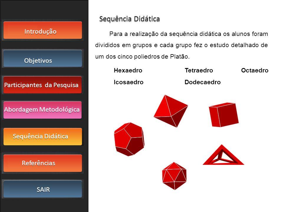 Introdução Objetivos Participantes da Pesquisa SAIR Sequência Didática Referências Abordagem Metodológica O hexaedro (cubo), pode ser encontrado em objetos de decoração, obras de arte, em brincadeiras.