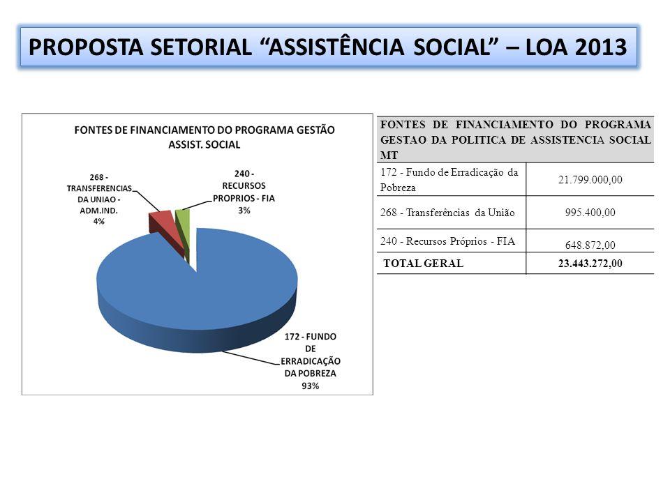 FONTES DE FINANCIAMENTO DO PROGRAMA GESTAO DA POLITICA DE ASSISTENCIA SOCIAL MT 172 - Fundo de Erradicação da Pobreza 21.799.000,00 268 - Transferências da União995.400,00 240 - Recursos Próprios - FIA 648.872,00 TOTAL GERAL23.443.272,00 PROPOSTA SETORIAL ASSISTÊNCIA SOCIAL – LOA 2013