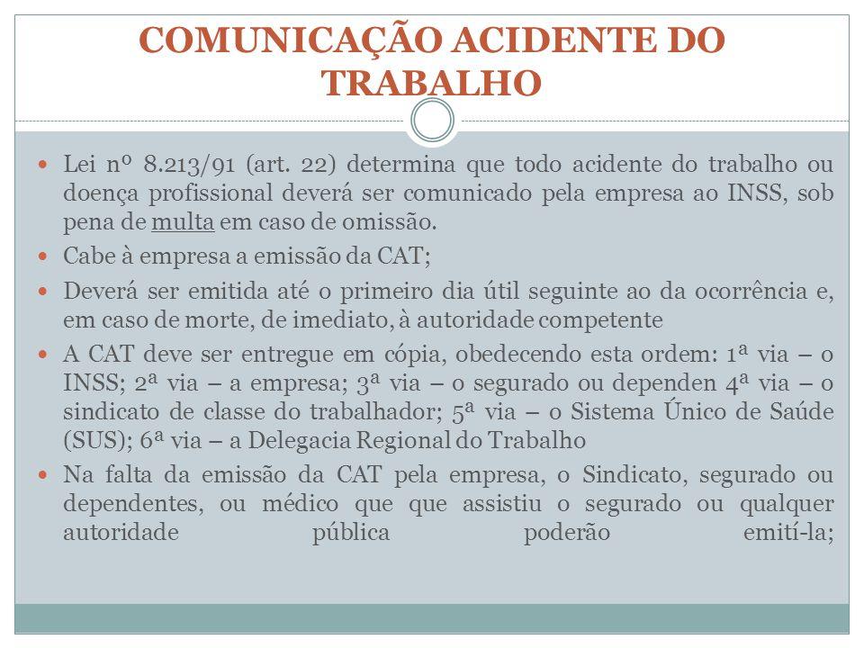 COMUNICAÇÃO ACIDENTE DO TRABALHO Lei nº 8.213/91 (art. 22) determina que todo acidente do trabalho ou doença profissional deverá ser comunicado pela e