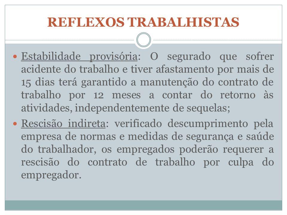 REFLEXOS TRABALHISTAS Estabilidade provisória: O segurado que sofrer acidente do trabalho e tiver afastamento por mais de 15 dias terá garantido a man