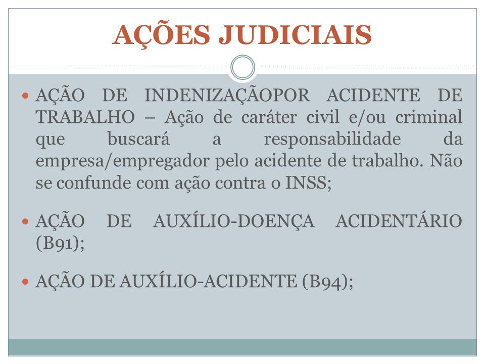 AÇÕES JUDICIAIS AÇÃO DE INDENIZAÇÃOPOR ACIDENTE DE TRABALHO – Ação de caráter civil e/ou criminal que buscará a responsabilidade da empresa/empregador