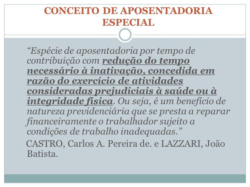 CONCEITO DE APOSENTADORIA ESPECIAL Espécie de aposentadoria por tempo de contribuição com redução do tempo necessário à inativação, concedida em razão