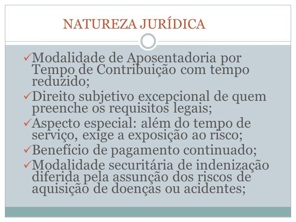 NATUREZA JURÍDICA Modalidade de Aposentadoria por Tempo de Contribuição com tempo reduzido; Direito subjetivo excepcional de quem preenche os requisit