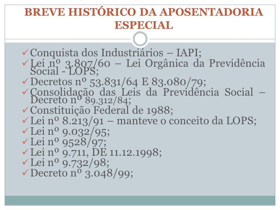 BREVE HISTÓRICO DA APOSENTADORIA ESPECIAL Conquista dos Industriários – IAPI; Lei nº 3.807/60 – Lei Orgânica da Previdência Social - LOPS; Decretos nº