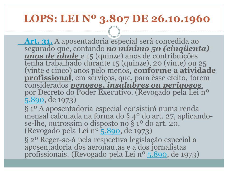LOPS: LEI Nº 3.807 DE 26.10.1960 Art. 31.Art. 31. A aposentadoria especial será concedida ao segurado que, contando no mínimo 50 (cinqüenta) anos de i