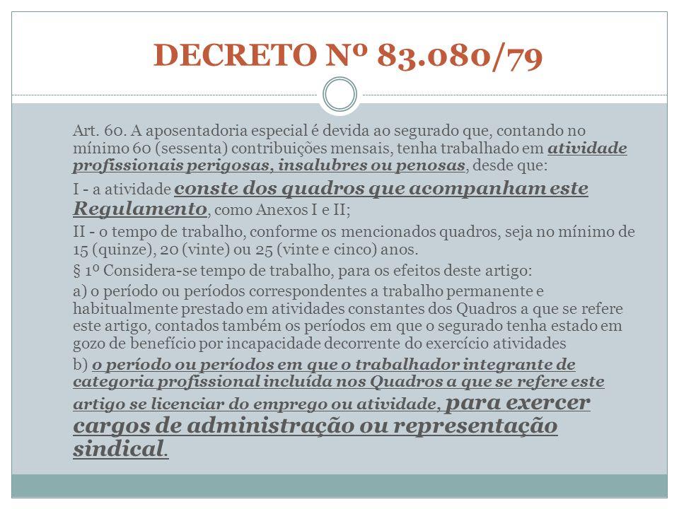 DECRETO Nº 83.080/79 Art. 60. A aposentadoria especial é devida ao segurado que, contando no mínimo 60 (sessenta) contribuições mensais, tenha trabalh