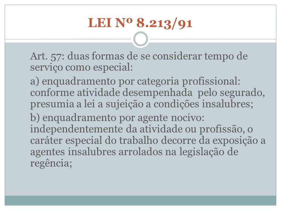 LEI Nº 8.213/91 Art. 57: duas formas de se considerar tempo de serviço como especial: a) enquadramento por categoria profissional: conforme atividade